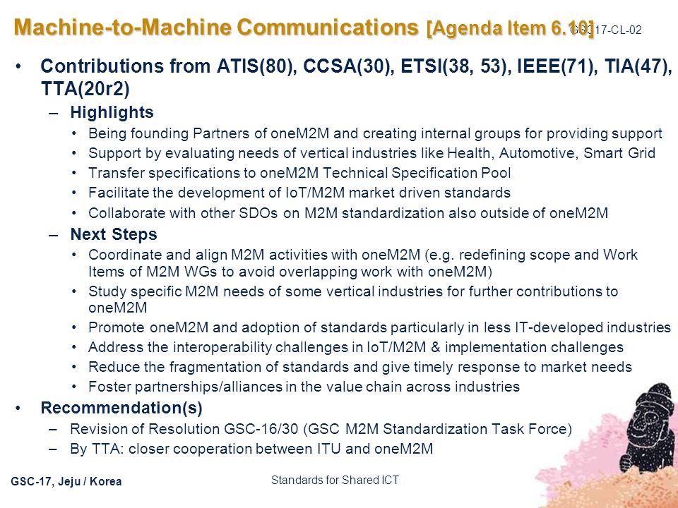 Machine-to-Machine Communications [Agenda Item 6.10]